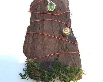 Handmade Fairy Door with Moss and Wire