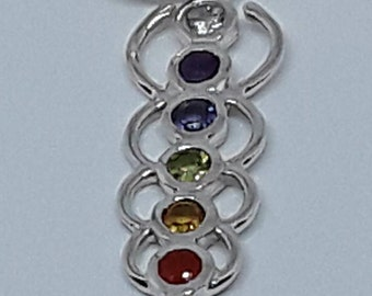 Sterling silver aura chakra pendant