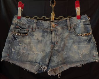 American Eagle Shorts Destroyed Denim - Bleached Denim Distressed Shorts Upcycled with Metal Studs