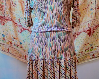 80s Missoni Designer Rainbow Silk Dress