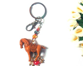 Keychain Horse and White / Gold / Red Beads - Keychain Animal - Pendant Bag - Pendant Horse - Animal Trinket - For Him / For Her - Colorful
