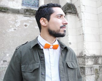 Bowtie EPSILON Orange or red and white or black - 3D printed and sewn hand