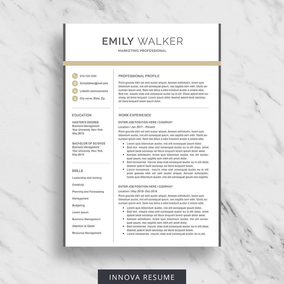 modern resume template for word clean resume design 2 page
