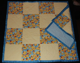 Duckie Play Time, Baby Quilt and Tag-along, baby blanket and Tag-along, Patchwork Quilt, Blue and Yellow