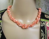 1940s Costume Jewelry: Necklaces, Earrings, Brooch, Bracelets Triple Strand Natural Salmon Coral Vintage Necklace  1940s Salmon Coral Three Strand Long Necklace  Vintage MultiStrand Coral Necklace $24.00 AT vintagedancer.com