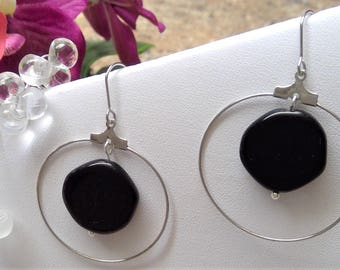 Stainless steel earrings with black opaque stones