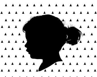Silhouette Portrait, Custom Silhouette Portrait with Triangle Pattern, Child's Silhouette, Custom Profile Picture, Triangles, Kid's Portrait