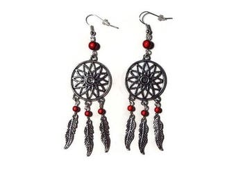 "Dream catcher earrings and red magic Pearl ""/ gift/dreamscatcher"