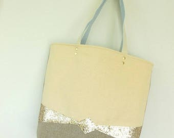 Tote bag linen yellow and gold glitter