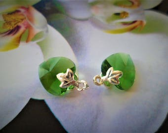 2 hearts green with medium bail clip leaf Maple 16 mm D