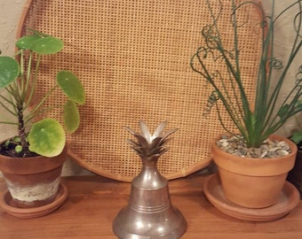 Vintage silver pineapple bell / Large aged silver bell / Large pineapple bell