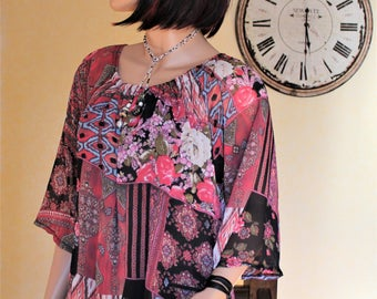 Tunic large flowered 100% made in France