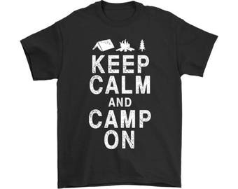 Keep Calm and Camp On T-shirt, Funny Keep Calm T-shirt, Keep Calm T-shirt for Men and Women, 100% Cotton Short Sleeve Tee for camp lovers