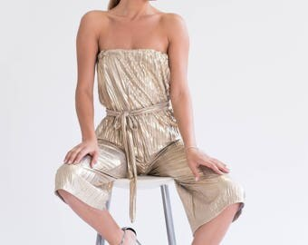 GOLDIE strapless pleated culotte jumpsuit