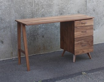 Walnut Desk Mid-Century Modern w/ 3 Drawers