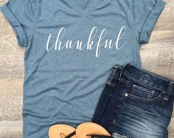 Thankful tshirt / thankful shirt / fall shirt / autumn shirt / thanksgiving shirt / christmas gift / gift for mom / gift for her