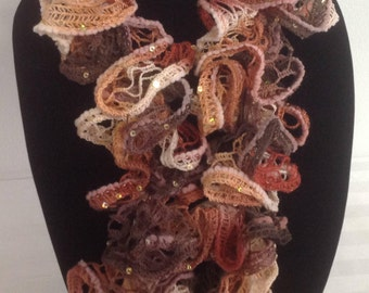 Brown, terra cotta, cream and burgundy crochet scarf