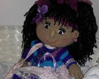 Doll Maska crocheted wool 45 cm