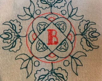 Floral Monogram Machine Embroidery Design