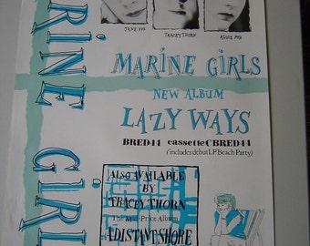 Marine Girls Tracey Thorn Lazy Days Original 1983  Rare Uk Poster