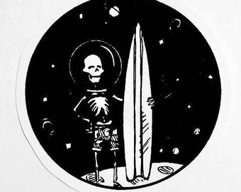 Sticker: Surfin' Skeleton in Space