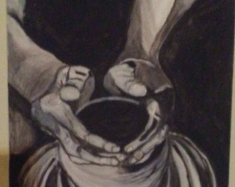 "Black & White Impressionist ""POTTER'S HANDS"" by Portland, OR artist Joseph Cardinal"