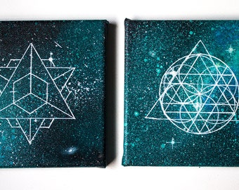 Handpainted Set of Two Blue Canvases - One of a kind - Free Worldwide Shipping