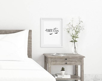 Sweet dreams print, home print, bedroom print, quote print, wall art, home decoration, typography print, monochrome print