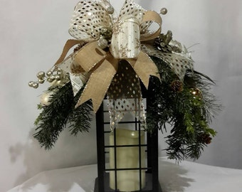 Winter Lantern Swag, Winter Swag, Winter Floral Decor, Gold Lantern Swag