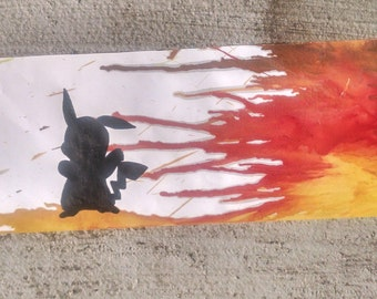 Pikachu Melted Crayon Silhouette Painting
