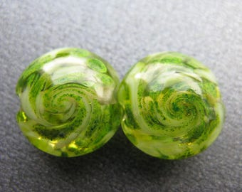 Lampwork Lentil Beads, Lampwork Beads Pair, Lampwork Pair, Handmade Lampwork Beads Pair, Spring Green, Lime Green, Clear, Shimmers - HGD2160