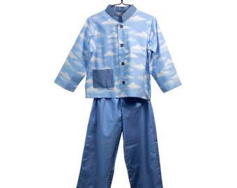 VINTAGE / child Pajamas / clouds pattern / American cotton / size 4t / size 6