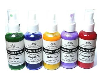 Glimmer Spray Mist Paint - Set of 5 60ml / 2fl.oz bottles by Wizart Colors. Best Quality for Best Price.