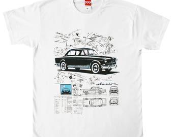 Volvo Amazon tshirt vintage classic car retro white black blue