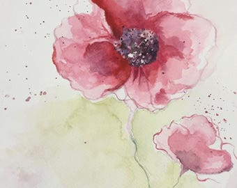 Poppy watercolor, red flower painting, romantic gift for her, bedroom flower painting