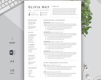 One page Resume | Professional Resume | Modern Resume | Resume Template | CV Template + Cover Letter | Compact resume | Creative Resume | CV