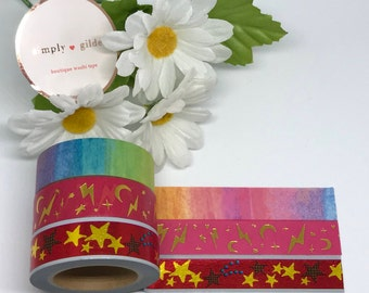 "Simply Gilded Washi, Rainbows and Wizardy, Limited samples, 24"" samples"