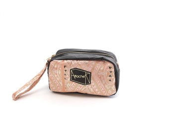 Pink Recycled Kimono obi cuboid pouch