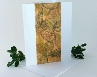 Leaf tapestry blank card, individually handmade, not a reproduction: A2, notecards, fine cards, SKU BLA21022