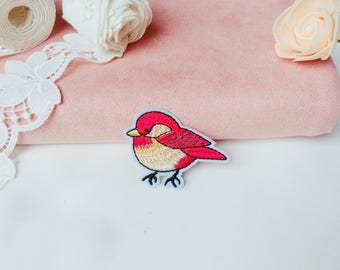 tiny red bird patch/iron on patch/embroidered patch/animal patch/cute patch/patch for  jacket