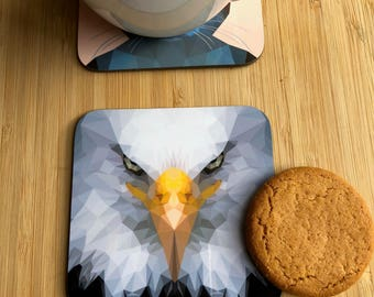 Low poly Eagle Portrait coaster / Eagle Face/ Hardboard Coaster / Drinks Coaster / Bird Coaster