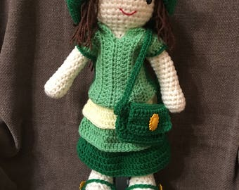 Crochet Doll with Green Frilly Dress