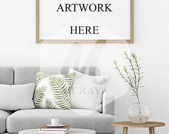 Wood Frame Mockup, Wood Landscape Frame, Styled Stock Photograpy, Scandinavian Style Interior, PSD Mockup, Digital Item, Natural Lighting