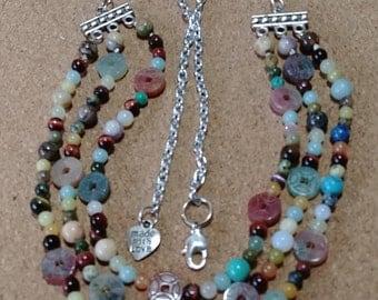 3 Strand semiprecious beaded necklace