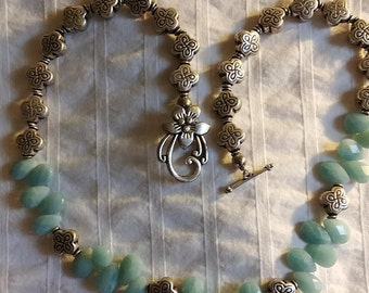 Aquamarine teardrop Necklace / Earring set