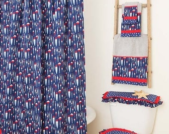 By The Sea Collection Shower Curtain In Navy