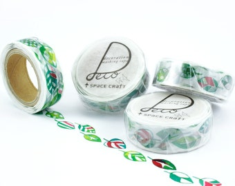 Die Cut Washi Tape Leaf • Masking Tape, Planner Supplies, Scrapbooking, Deco Tape, Round Top, Space Craft