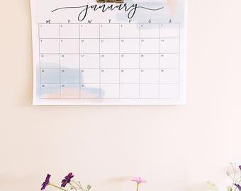2018 Calendar - A4 Printable Calendar - Monthly Calendar - Pastel Colour Calendar - Instant Download