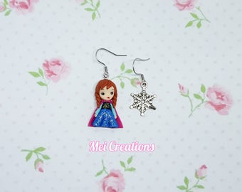 ANNA FROZEN fimo Baby earrings, Polymer clay doll, handmade