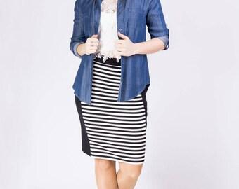 B&W Striped Skirt/ Midi Skirt/ Plus Size Skirt/ Women Skirt/ Fitted Skirt/ Knee Length Skirt/ Casual Skirt/ Bodycon Skirt/ Elegant Skirt